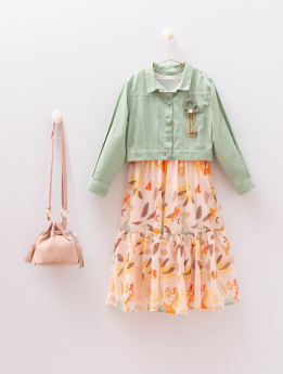 Girls Leaf Print Colorful Dress 4 Piece Outfit front picture