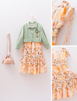 Girls Leaf Print Colorful Dress 4 Piece Outfit front and detail pictures