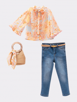 Girls Paisley Print 5 Piece Casual Set front picture