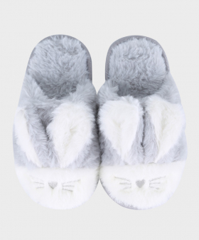 Girls Plush Bunny Slippers in Faux Fur in Grey Pair