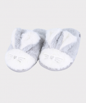 Girls Plush Bunny Slippers in Faux Fur in Grey Side  Picture