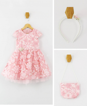Girls Short Sleeves Puffy  Dress 3 Piece Formal Set in Pink front picture