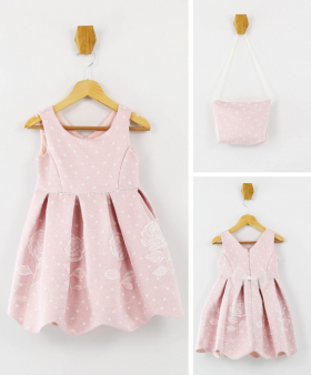 Girls Sleeveless Floral Embroidered 2 Piece Dress Set in Baby Pink front picture