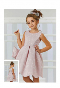 Girls Sleeveless Floral Embroidered 2 Piece Dress Set in Baby Pink model picture