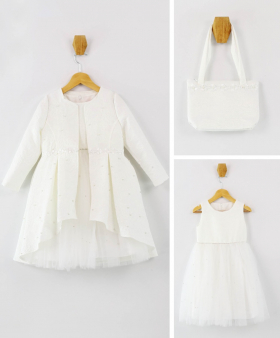 Girls Tail Jacket Communion Dress 3 Piece Special Occasion Set in Ecru Off White front picture