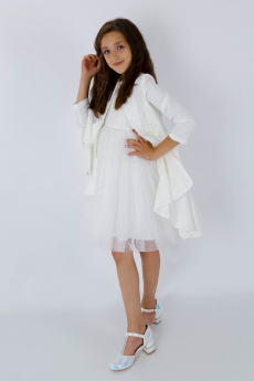 Girls Tail Jacket Communion Dress 3 Piece Special Occasion Set in Ecru Off White  model picture