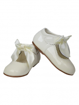 Girls Hook And Loop Shoes in Ivory With Satin Bow view of the shoes for girls
