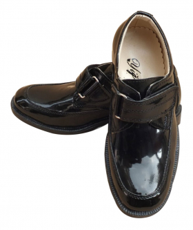 Boys Single Velcro Black Patent Formal Shoes