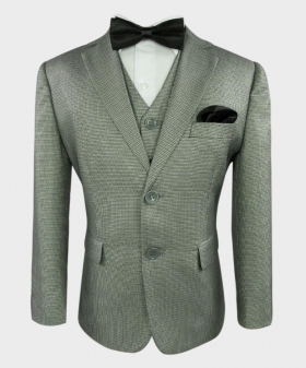 Joe Cooper Tailored Fit Tweed Textured complete set suit in Black& White-Front Side