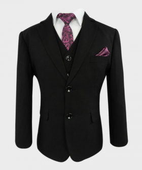 Joe Cooper Husky Tailored Fit Texture Like Black Suit-Closed/Front Side