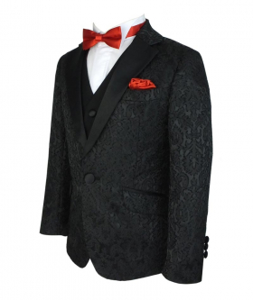 Side view of the Boys Suit Jacquard Satin Wedding Suit in Black with shirt, bow tie and hanky