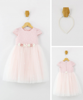 Little Girls Short Sleeves Party Dress 2 Piece Set in Light front picture