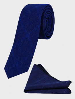 Men's and Young Boys Tweed Windowpane Check Slim Tie matching hankie Set  in Navy blue front picture