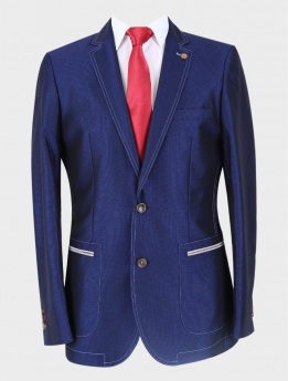 Men's Casual Slim Fit Blazer in Navy Blue with accessories front picture