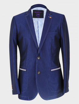 Men's Casual Slim Fit Blazer in Navy Blue front picture