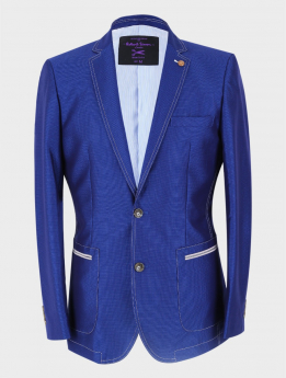 Men's Casual Slim Fit Blazer in Royal Blue  front picture