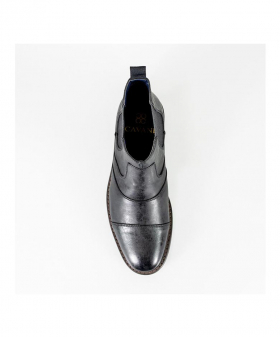 Italian Couture Mens Black Slip On Leather Chelsea Boots