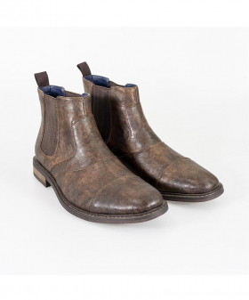 Italian Couture Mens Dark Brown Slip On Leather Chelsea Boots