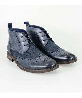 Designer Mens Cavani Curtis Navy Blue Tweed and Leather Mix Chelsea Boots
