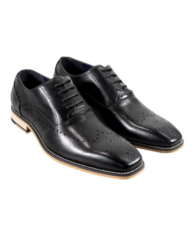 Italian Couture Men's Cavani Black Perforated Lace up Leather Brogues