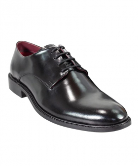 Men's Italian Couture Black Patent Leather Signature Oxford Shoes