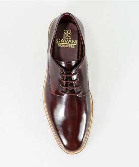 Men's Italian Couture Wine Patent Leather Signature Oxford Shoes