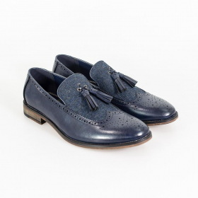 Men's Cavani Lucius Leather & Fabric Moccasins Loafers Shoes in Navy Blue - Pair