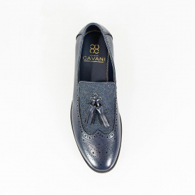 Men's Cavani Lucius Leather & Fabric Moccasins Loafers Shoes in Navy Blue - Top