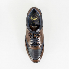 Men's Cavani Portland Navy Blue & brown Leather Lace Up Trainers Sneakers Smart Shoes - Top