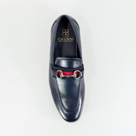 Men's Cavani Yale Italian Couture Navy Blue Slip on Moccasins Loafer with Clip Detail - Top