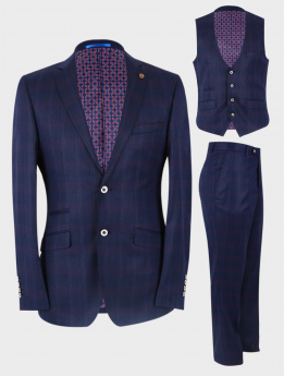 Men's Check Tailored Fit 3 piece suit set in Dark Blue front picture