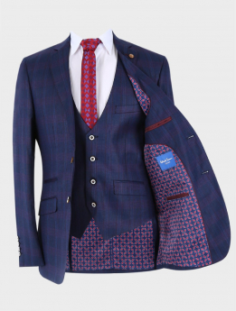 Men's Check Tailored Fit Jacket and waistcoat in Dark Blue with accessories open front picture