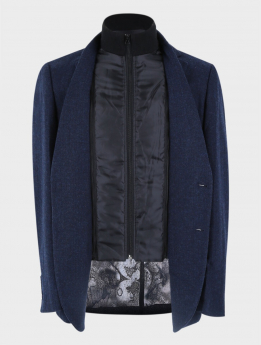 Men's Herringbone Slim Fit Casual Winter Coat with Removable Zipper in Navy Blue front picture