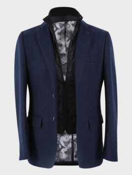 Men's Herringbone Slim Fit Casual Winter Coat with Removable Zipper in Navy Blue open front picture
