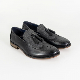 Men's Italian Couture Leather & Fabric Moccasins Loafers Shoes in Black - Pair