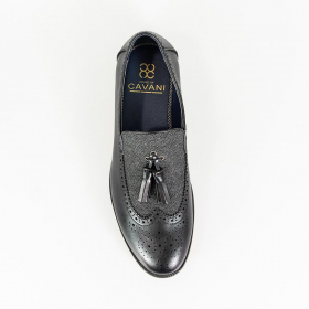 Men's Italian Couture Leather & Fabric Moccasins Loafers Shoes in Black - Tope