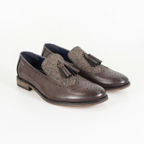 Men's Italian Couture Leather & Fabric Moccasins Loafers Shoes in Brown - Pair