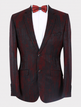 Men's Jacquard Wedding Groom Blazer in Black and Red  with accessories front picture