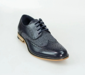 Men's Navy Lace up Leather & Tweed XL Big Size Brogue Shoes-Angled