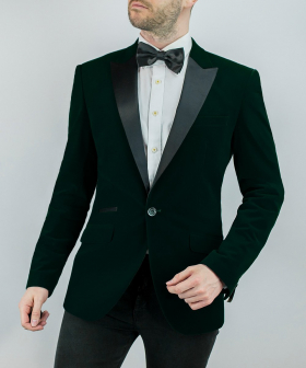Men's Rosa Forest Green Slim Fit Velvet Tuxedo Blazer- with white shirt and bow tie for weddings and dinner events