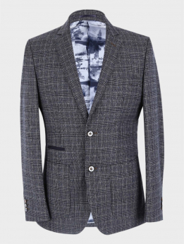 Men's Slim Fit Retro  Check Blazer  in Grey Sold Separately front picture