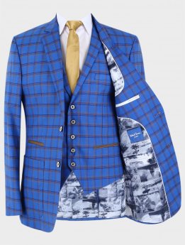 Men's Slim Fit Retro Windowpane Check Blazer and Waistcoat in Royal Blue Sold Separately with accessories front open picture
