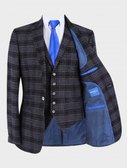 Men's Tweed-like Check Slim Fit Blazer Waistcoat in Black Sold Separately with accessories front open picture