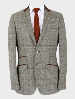 Men's Tweed Check Slim Fit Peaky Blinders Light Beige Blazer with accessories front picture