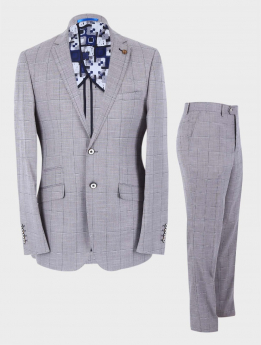 Men's Windowpane Check Slim Fit Classic 2 Piece Business Suit Set in Grey