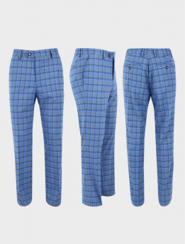 Men's Windowpane Check Tailored Fit  Formal Trousers in Sky Blue three sides picture