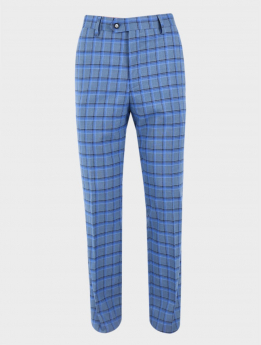 Men's Windowpane Check Tailored Fit  Formal Trousers in Sky Blue front picture