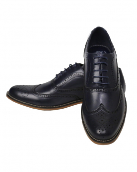 Men's Navy Lace up Leather Oxford Shoes