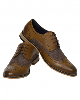 Men's Tan Lace up Leather Brogues & Fabric Shoes