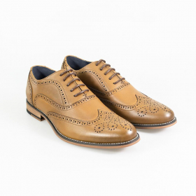 Men Tan Brown Lace-up Leather Oxford Brogue XL Big Size Shoes, view of the shoes